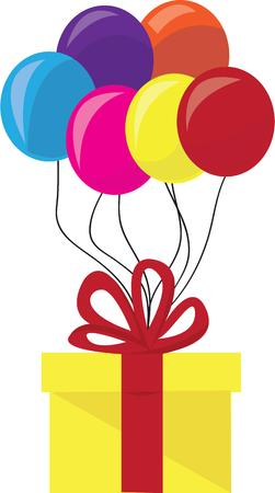 Decorate a birthday party with gifts and balloons.