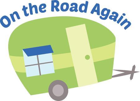 Take a fun trip with a cute trailer. Ilustracja