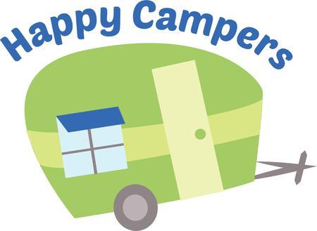 Take a fun trip with a cute trailer. Vectores