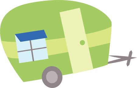 recreational vehicle: Take a fun trip with a cute trailer. Illustration
