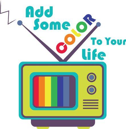 Ga retro met een koel kleurentelevisie. Stock Illustratie