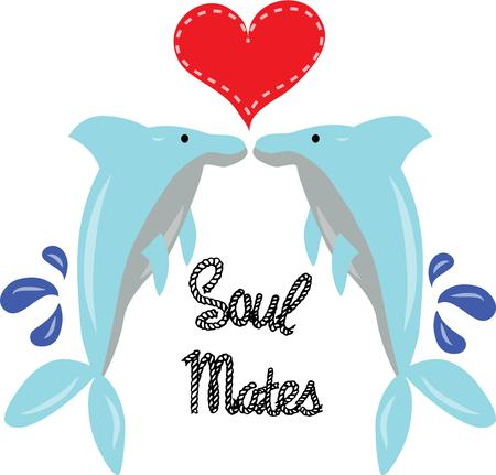 cetacean: Beautiful dolphins will send a message of love to your valentine. Illustration