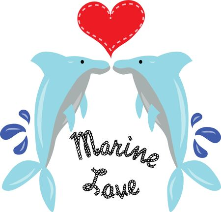 Beautiful dolphins will send a message of love to your valentine. Illustration