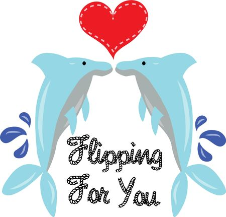 porpoise: Beautiful dolphins will send a message of love to your valentine. Illustration