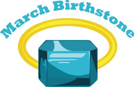 birthstone: Give a beautiful aquamarine as a birthstone gift. Illustration