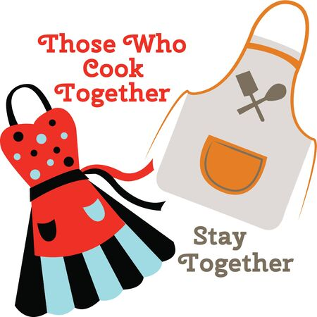pinafore: Accent your kitchen decor with colorful chef aprons. Illustration