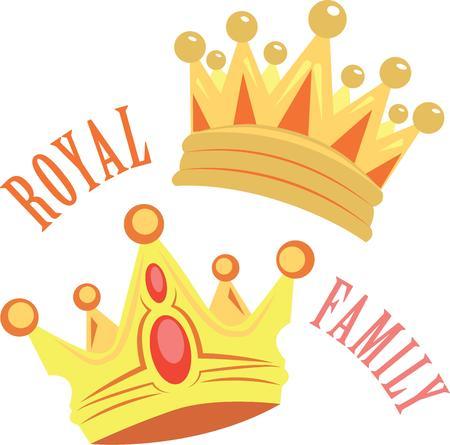 ロイヤルを感じるように持ち物に王冠を追加します。  イラスト・ベクター素材