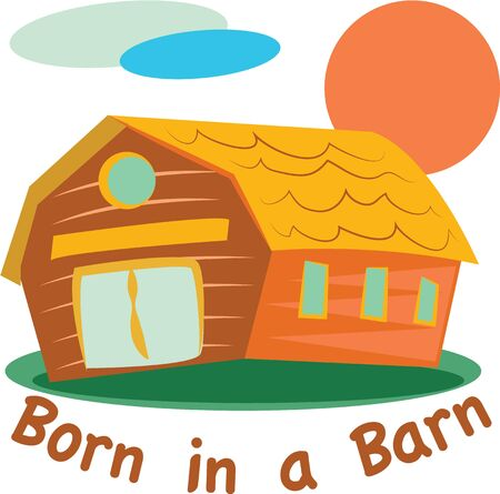 grain storage: A farmer will like this colorful barn on a t-shirt.