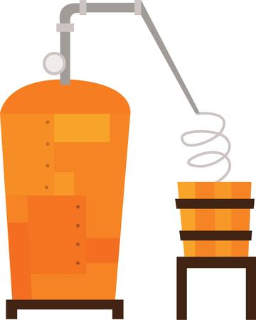 vat: Whiskey drinkers will enjoy a still on a t-shirt. Illustration