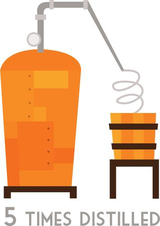 distill: Whiskey drinkers will enjoy a still on a t-shirt. Illustration