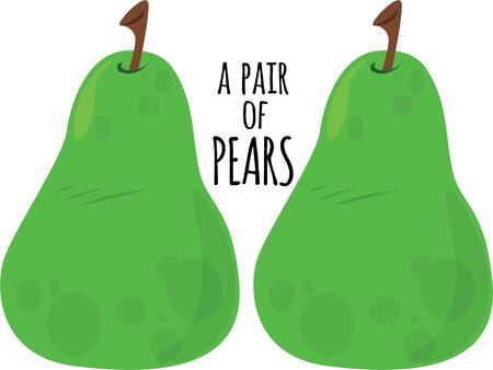 hunger: Delicious pears will make a good kitchen decor. Illustration