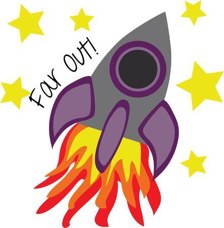 Laat je fantasie naar de ruimte vliegen op een vurige raket. Stock Illustratie