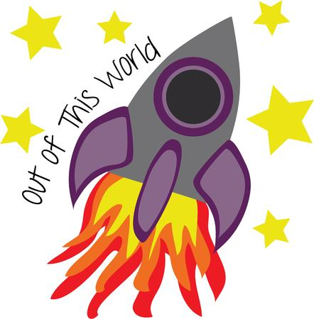 Let your imagination fly to outer space on a fiery rocket.