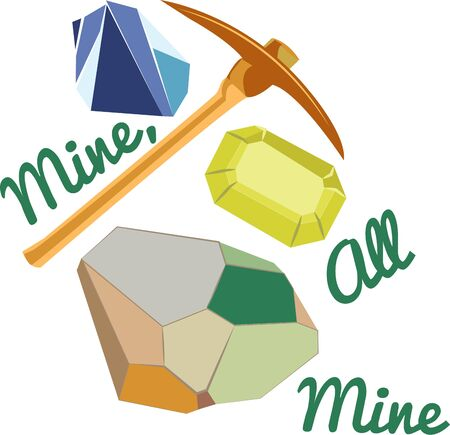Mining for precious gems is a get activity for a t-shirt design. Ilustrace