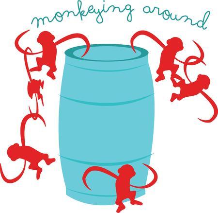 Veel plezier met dit vat apen. Stock Illustratie