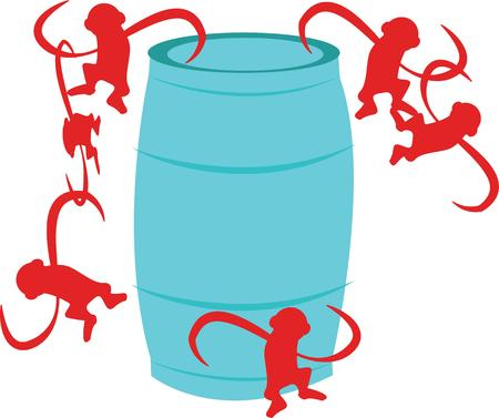 Have fun with this barrel of monkeys. Stock fotó - 44804725