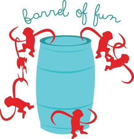 楽しんで: Have fun with this barrel of monkeys.