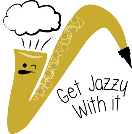 A silly saxophone is perfect for playing fun music. 向量圖像