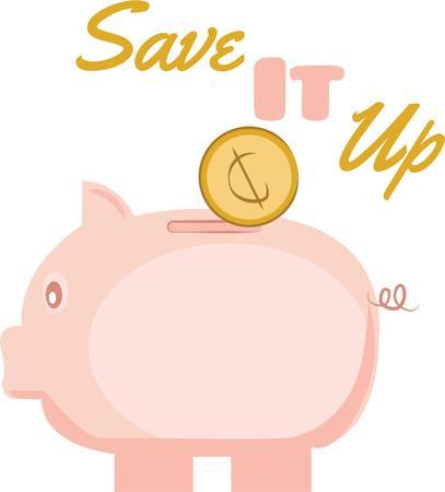 Sparen Sie Geld mit einem niedlichen Sparschwein. Standard-Bild - 44804693