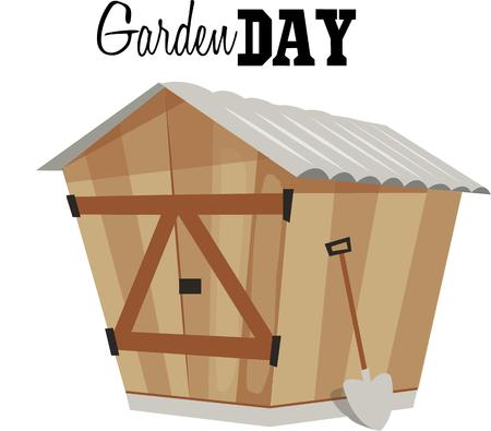 Make an apron for your gardening with a cute shed. Zdjęcie Seryjne - 44804625