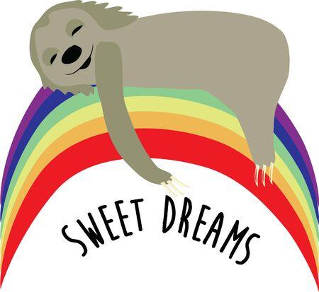 sloth: Enviar dulces sueños sobre una manta con esta pereza sueño. Vectores