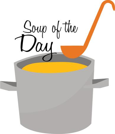 ladles: Delicious soup is perfect in your kitchen on a cold day. Illustration