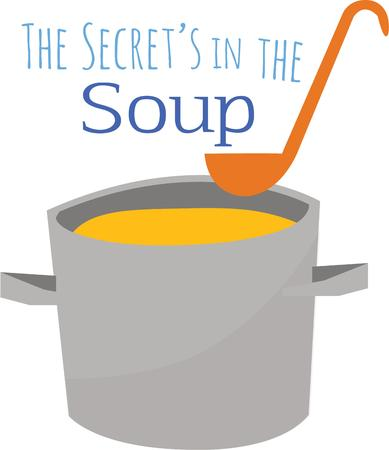 Delicious soup is perfect in your kitchen on a cold day. Ilustracja