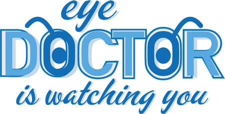 眼科医がロゴの t シャツが好きです。  イラスト・ベクター素材
