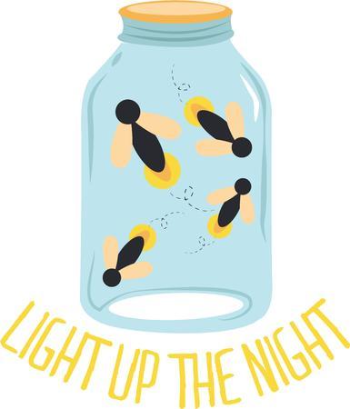 Catching fireflies is a fun evening activity. Ilustração