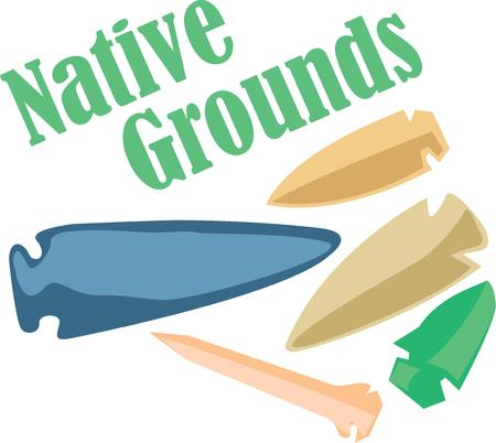 indian weapons: Decorate a tribal project with arrowheads.