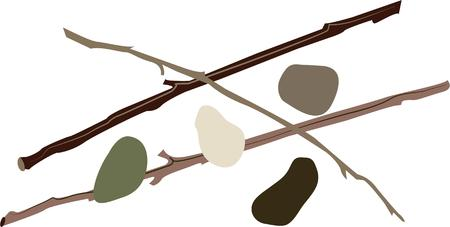 Add interest with sticks and stones to a nature project.