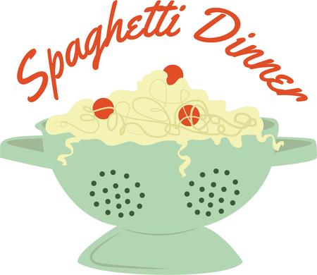 strainer: Decorate a cooks apron with a delicious bowl of spaghetti.