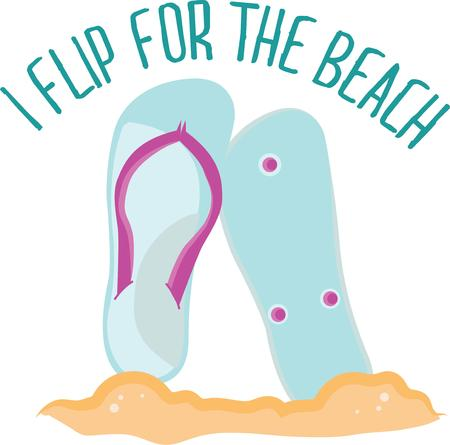 a thong: Flip flops will look great on a beach towel. Illustration