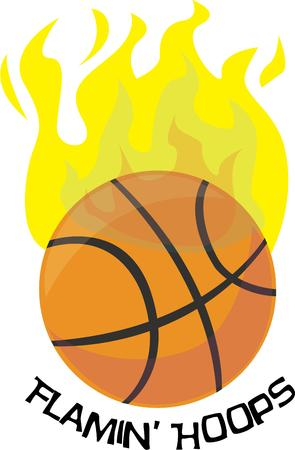 nba: Basketball fans will enjoy a flaming ball on a t-shirt. Illustration