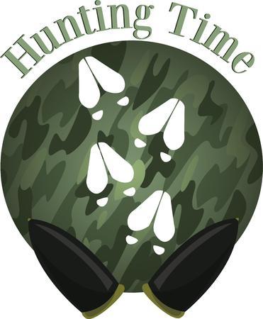 hunters: Deer tracks will look good on a hunters hat. Illustration