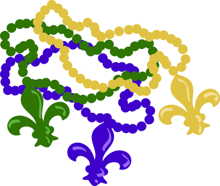 Use these beads to celebrate Mardi Gras! Stock Illustratie