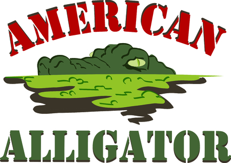bayou swamp: This gator will look great peeking out of a pocket. Illustration