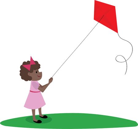 Kite flying is a fun way to pass an afternoon. Ilustração