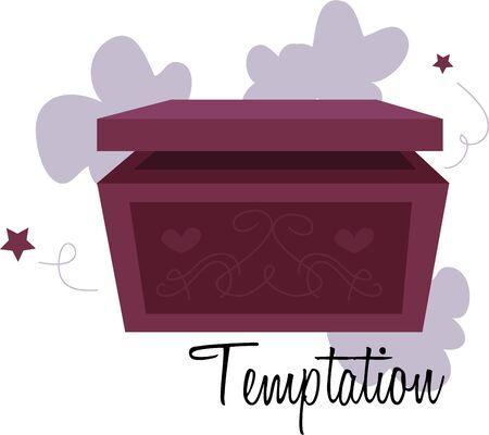 Doe een wens en open een magische doos. Stock Illustratie