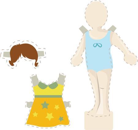 어린 소녀들은 인형을 가지고 노는 것을 좋아합니다. 일러스트