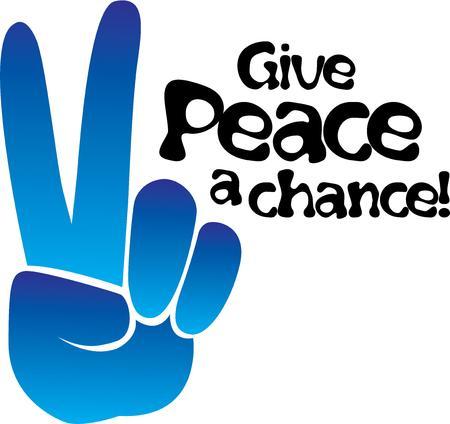 Geven het vredesteken als een oude hippie. Stock Illustratie