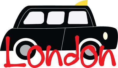 Jazz up your taxi with classic black cab. Stock Illustratie