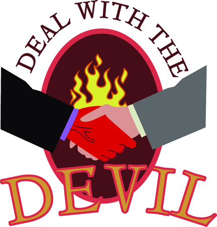 beware: Beware of a deal with the devil and this evil handshake. Illustration