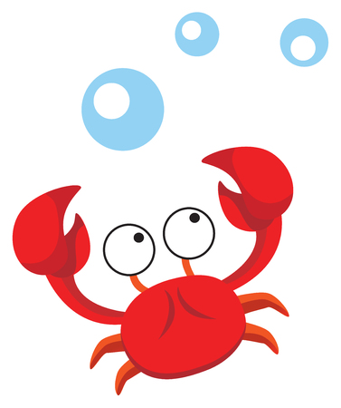 marine crustaceans: This cute crab is the perfect design for a childs bathroom. Illustration