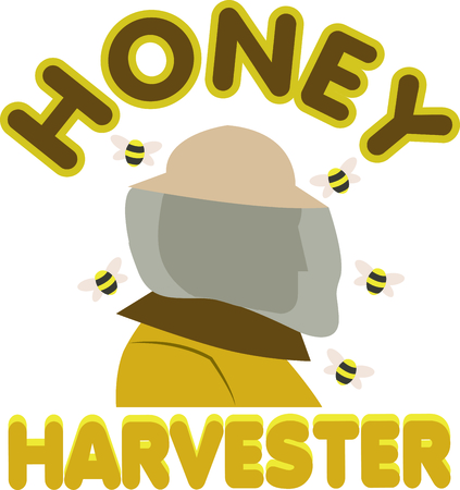 keeper: A bee keeper can be a lifesaver when bees move into the walls of your house.  Get them this design to advertise their business. Illustration