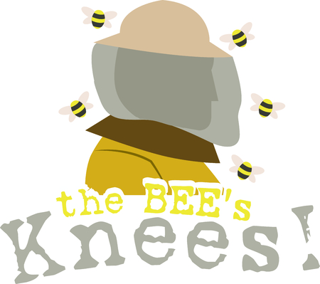 A bee keeper can be a lifesaver when bees move into the walls of your house.  Get them this design to advertise their business. Ilustracja