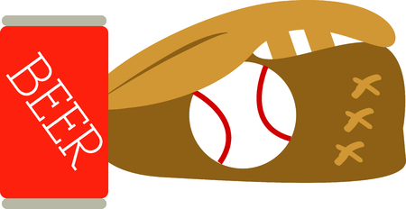 things that go together: Two things that go together is beer and baseball. Illustration