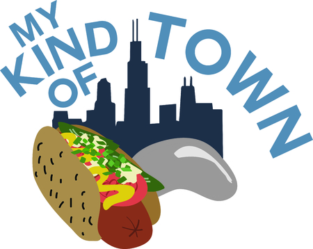 wiener: Celebrate Chicago with the skyline and hot dog on a bag or shirt.