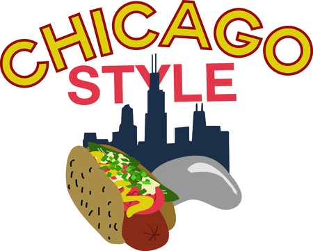 Celebrate Chicago with the skyline and hot dog on a bag or shirt.