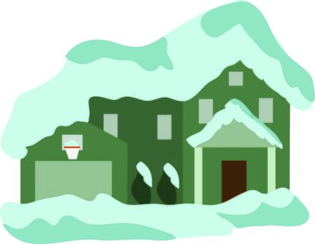 This snow covered house will look nice as a wall hanging. Ilustração